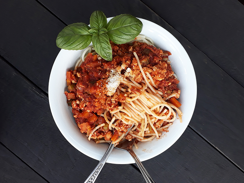 Vegan Gluten free Meat free Tofu Bolognese Passata Sauce Recipe 4