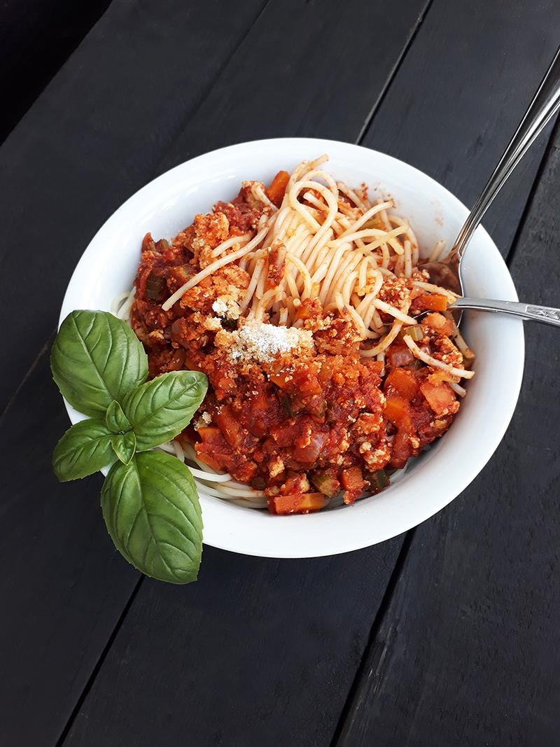 Vegan Gluten free Meat free Tofu Bolognese Passata Sauce Recipe 5