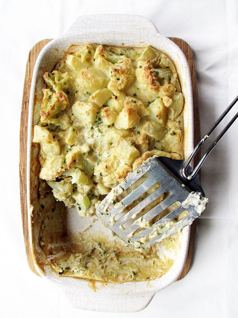 Vegan Gluten free Cauliflower Casserole Bake