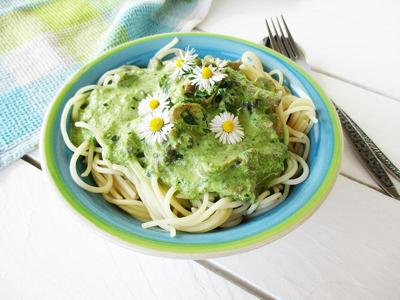Vegan Gluten free Dairy free Creamy Mushroom Chard Pasta Sauce Recipe 2