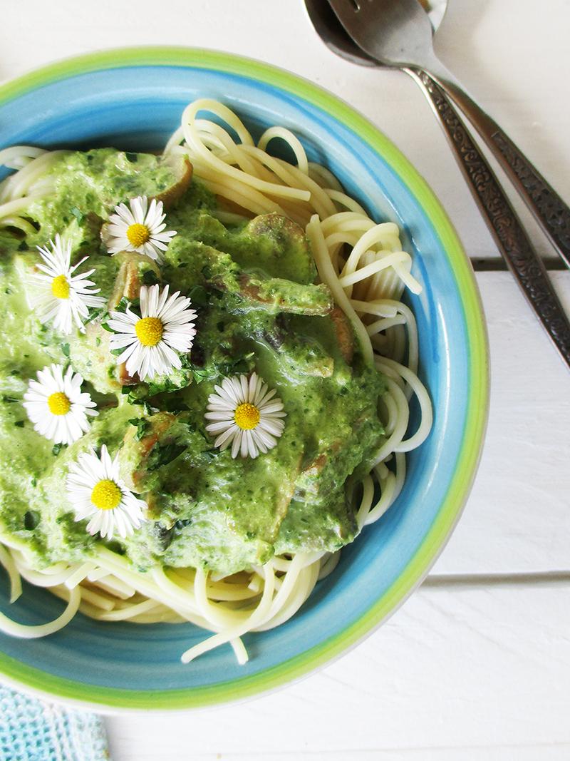 Vegan Gluten free Dairy free Creamy Mushroom Chard Pasta Sauce Recipe 3