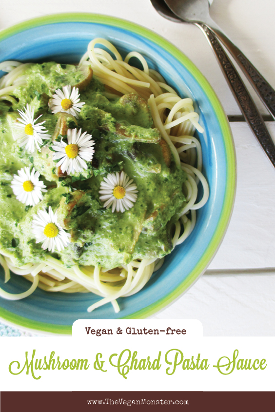 Vegan Gluten free Dairy free Creamy Mushroom Chard Pasta Sauce Recipe P2