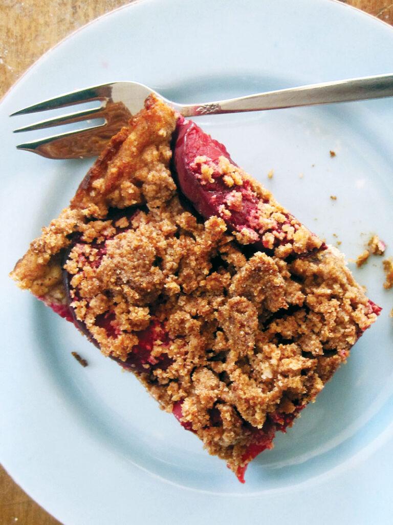 Vegan Gluten-free Plum Crumble Cake Slice Recipe