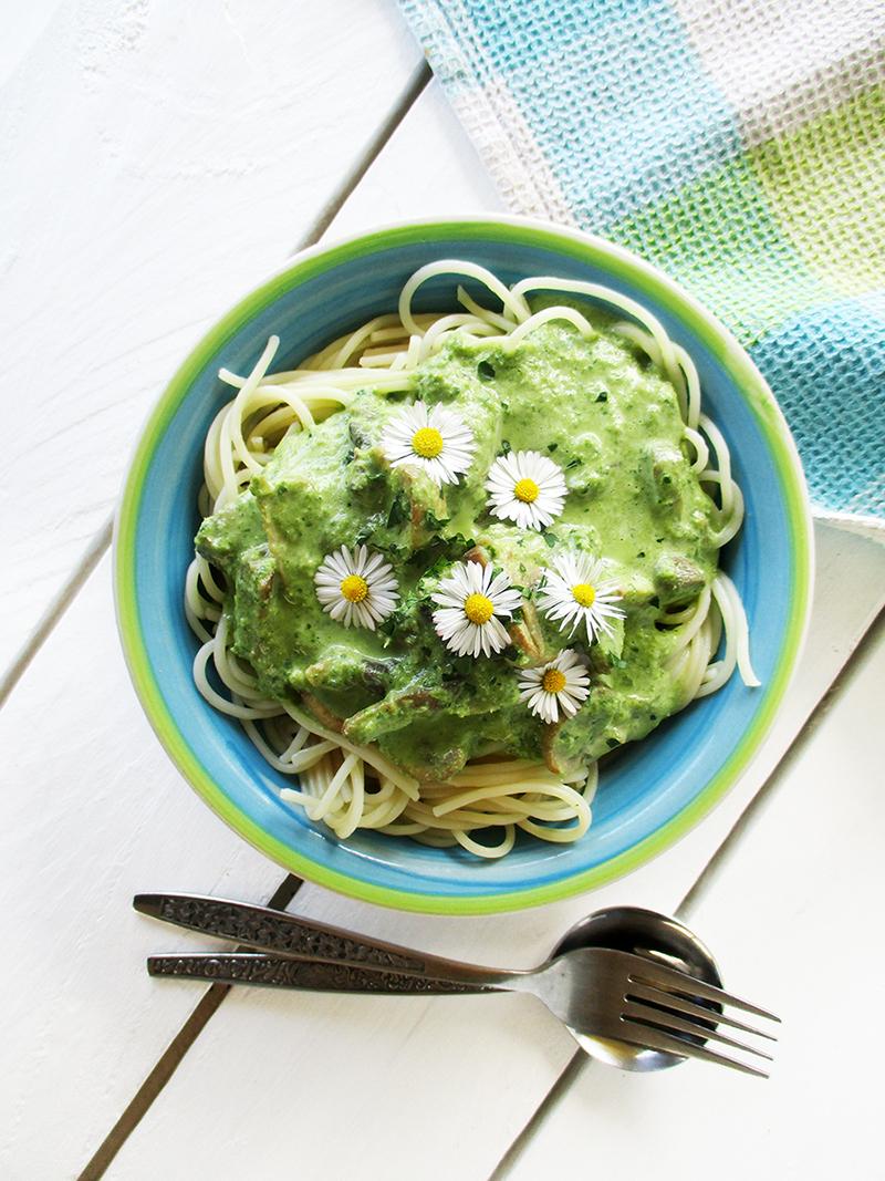 Vegane Glutenfreie Cremige Pilz Mangold Pasta Sosse Ohne Milch Rezept 2