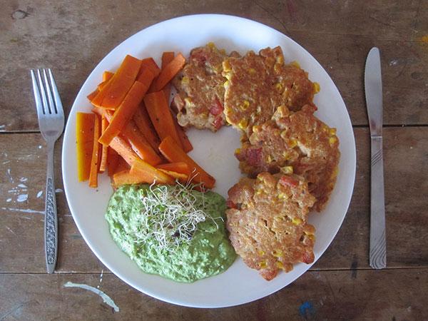 Vegan and Gluten-free Corn Fritter w Capsicum