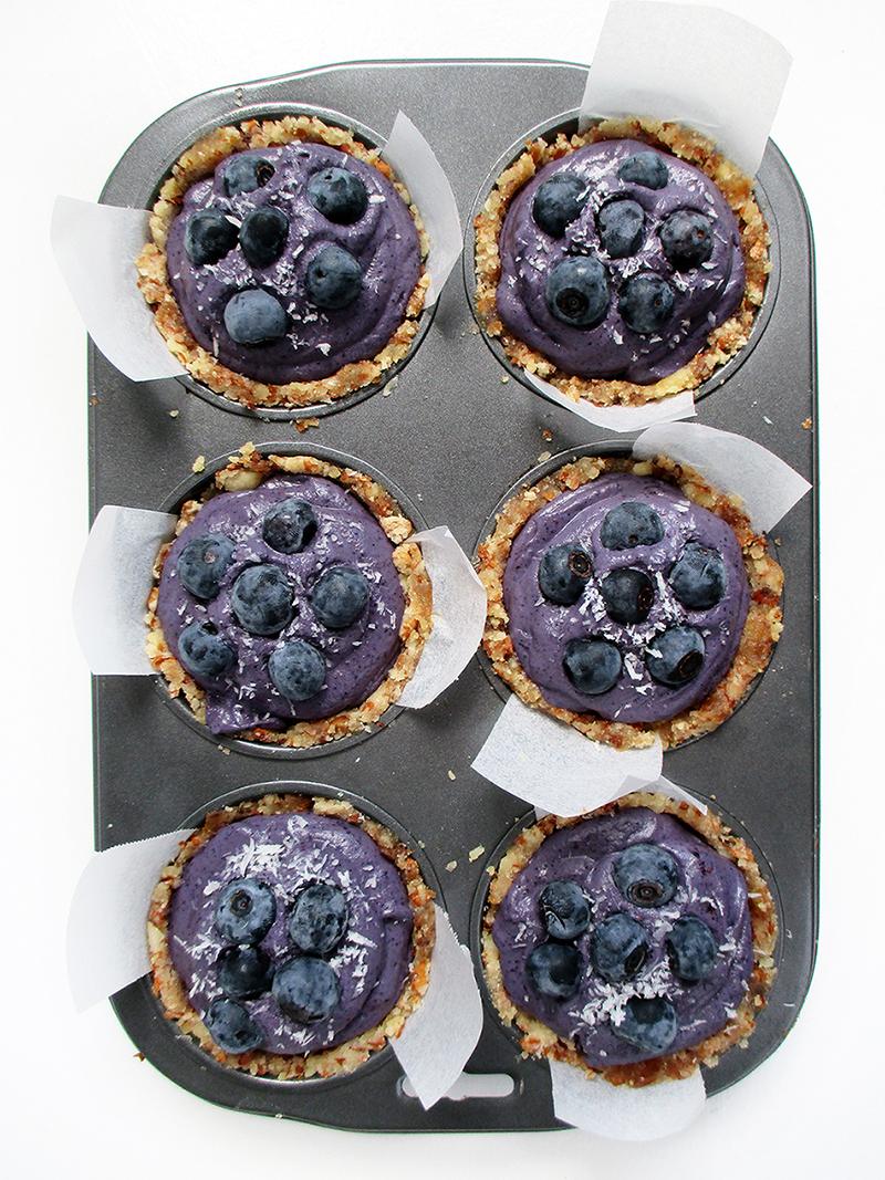 Vegan Gluten free Fruit Sweetened No Bake Blueberry Mini Cakes Recipe 1