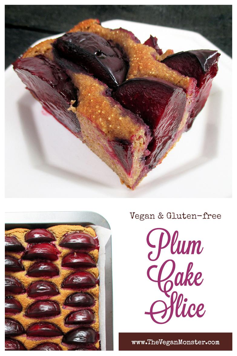 Vegan Gluten free Oil free Plum Cake Slice Recipe P1