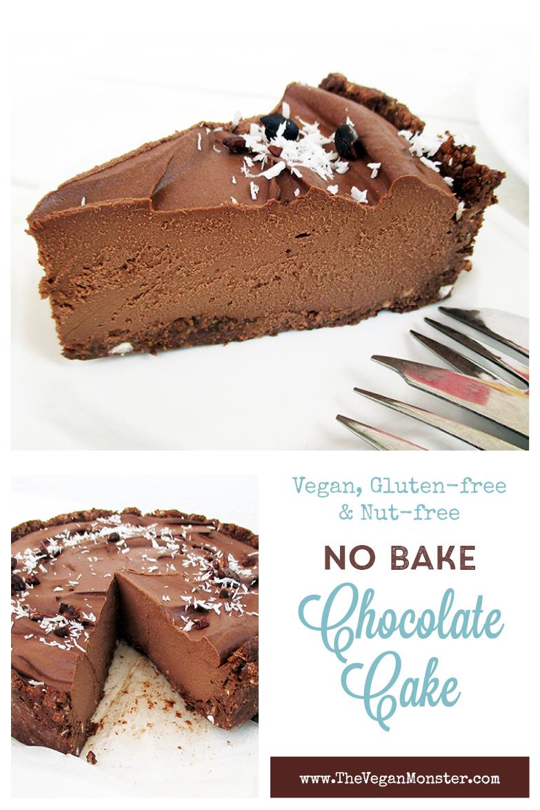 Vegan Gluten free Nut free Fruit Sweetened No Bake Chocolate Cake Recipe P1