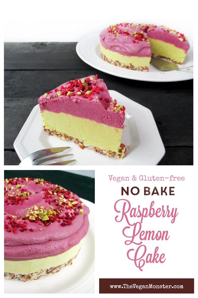 Vegan Gluten free No Bake Lemon Raspberry Cake Recipe P1