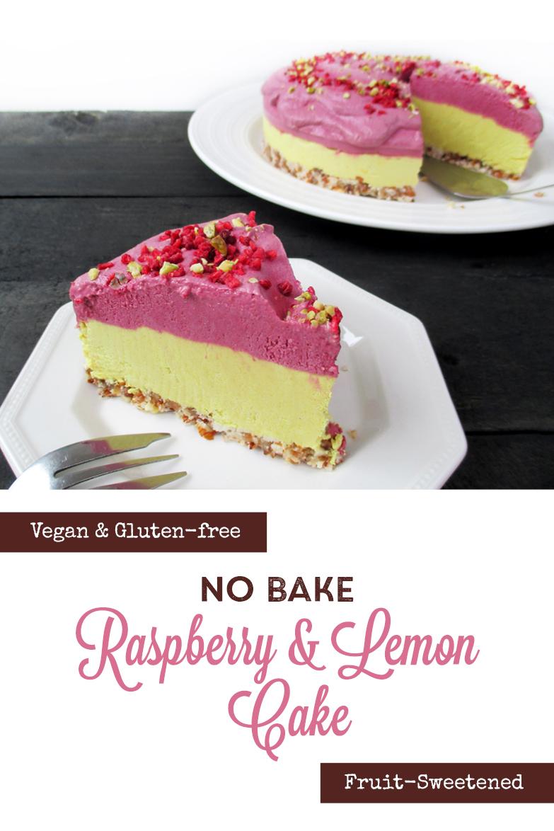 Vegan Gluten free No Bake Lemon Raspberry Cake Recipe P2