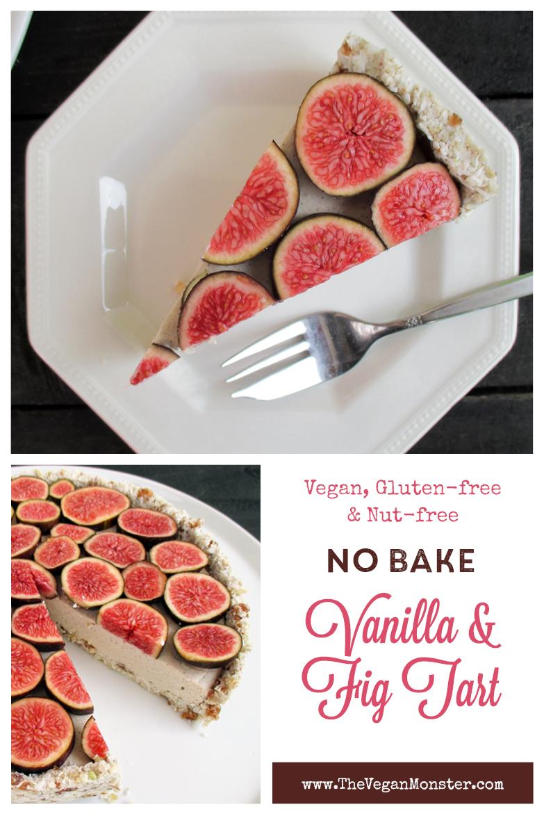 Vegan Gluten free Nut free No Bake Vanilla Fig Tart Fruit Sweetened Recipe P1