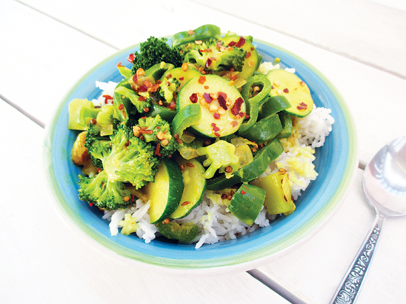 Veganes Glutenfreies Einfaches Gruenes Gemuese Curry Rezept 2