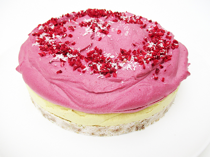 Vegan Gluten free Nut free Fruit Sweetened No Bake Raspberry Lemon Cake Recipe 1