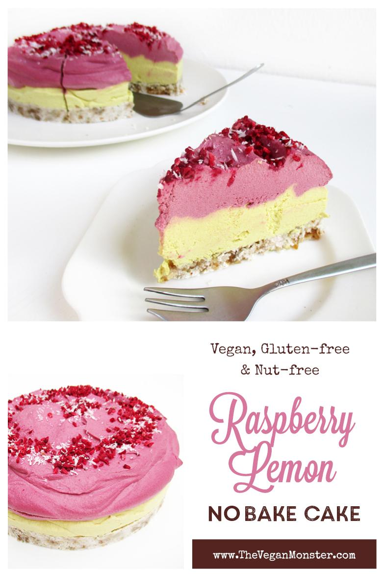 Vegan Gluten free Nut free Fruit Sweetened No Bake Raspberry Lemon Cake Recipe Vegane Glutenfreie Fruchtgesuesste Torte Kuchen Rezept P2