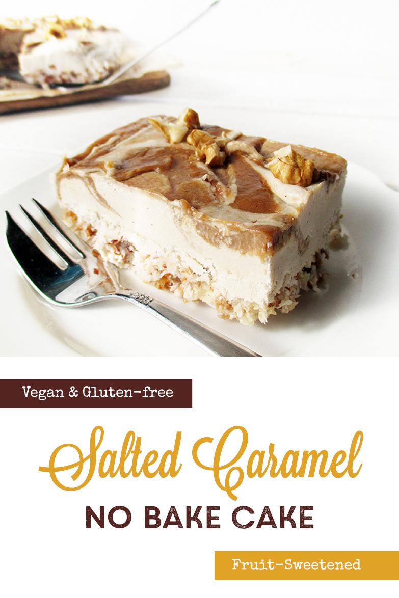 Vegan Gluten free Fruit Sweetened No Bake Salted Caramel Cake Slices Recipe P