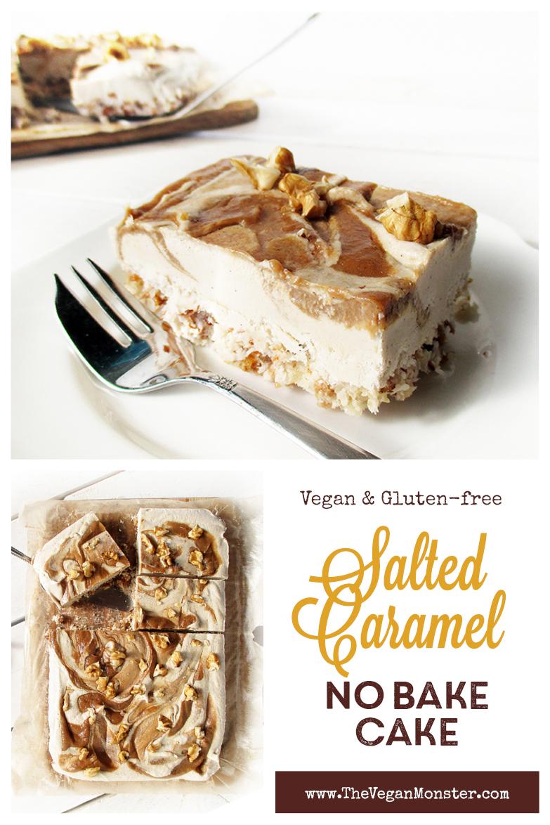 Vegan Gluten free Fruit Sweetened No Bake Salted Caramel Cake Slices Recipe P2