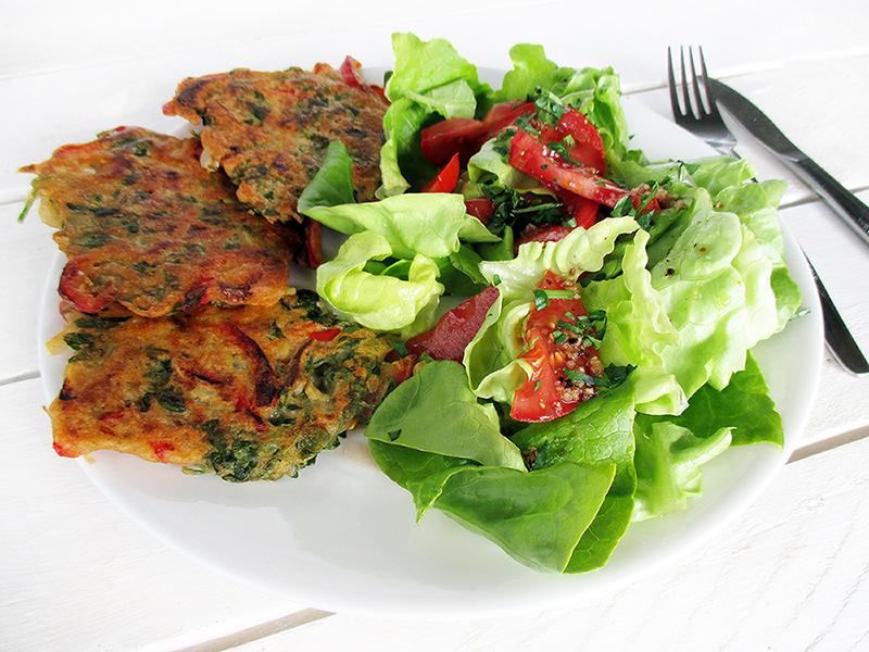 Vegan Gluten free Capsicum Water Cress Fritters Recipe 2