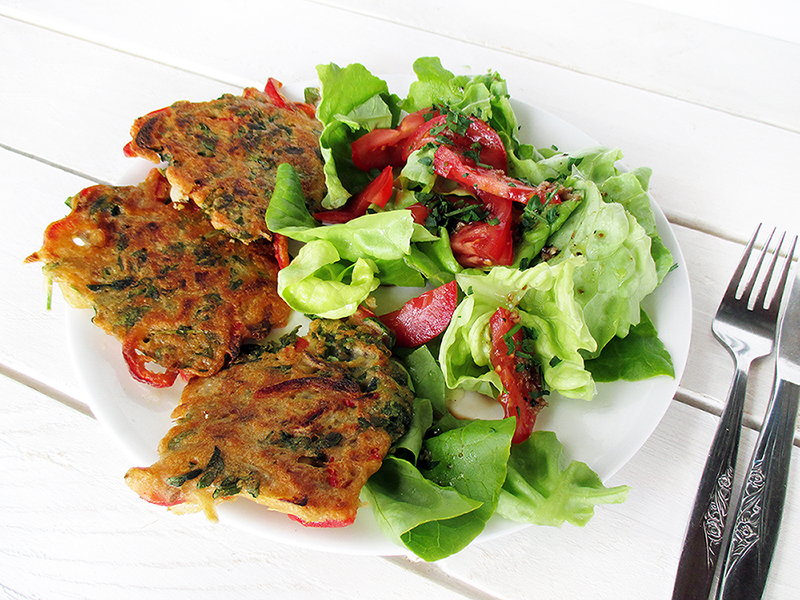 Vegan Gluten free Capsicum Water Cress Fritters Recipe 4