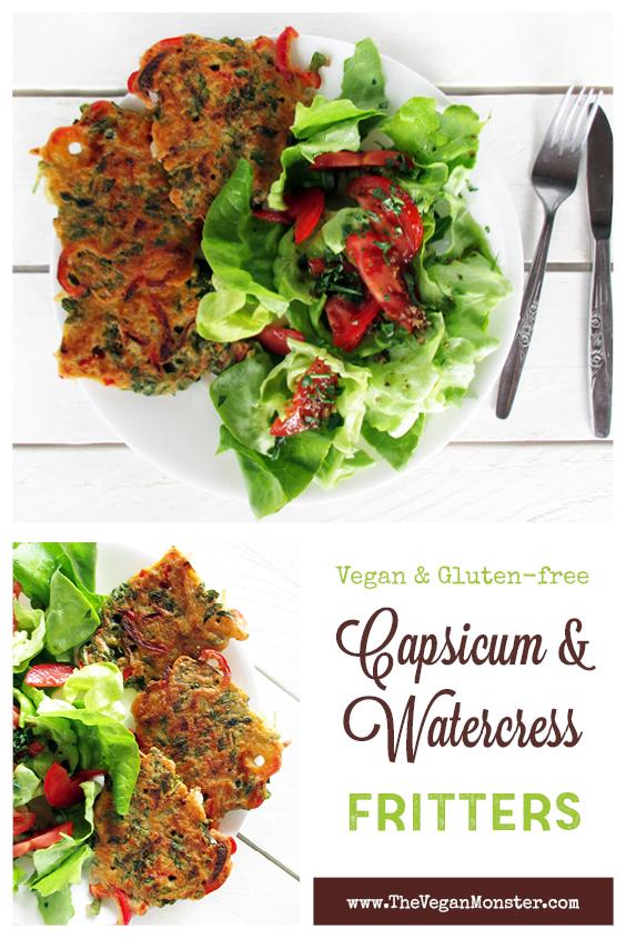 Vegan Gluten free Capsicum Water Cress Fritters Recipe P2
