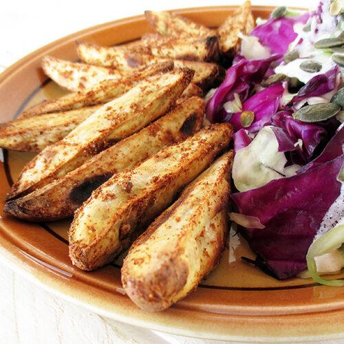 Vegane Glutenfreie Knusprige Suesskartoffel Spalten Ohne Oel Rezept 4 1