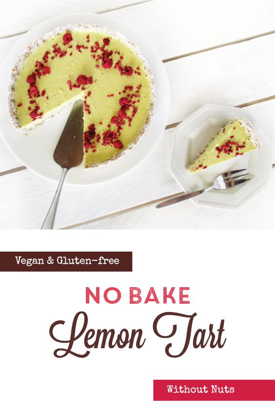 Vegan Gluten free No Bake Nut free Lemon Tart Cake Recipe P2