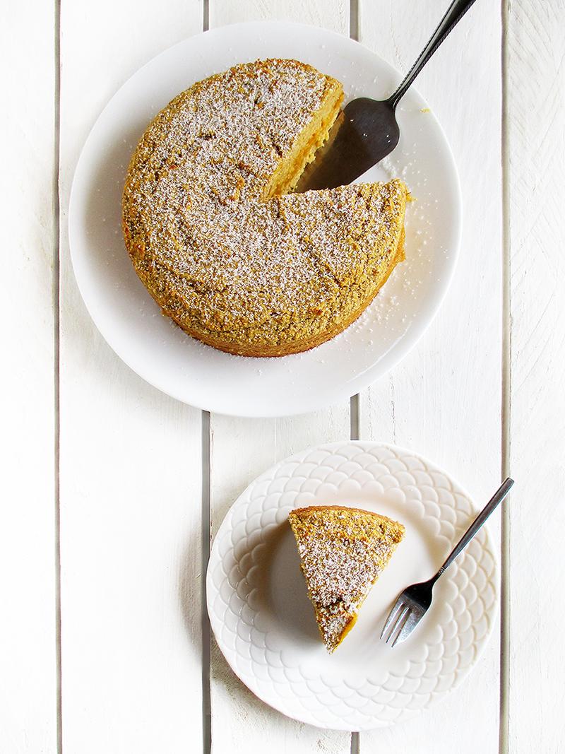 Low-Fat Zitronen Kürbis Polenta Kuchen