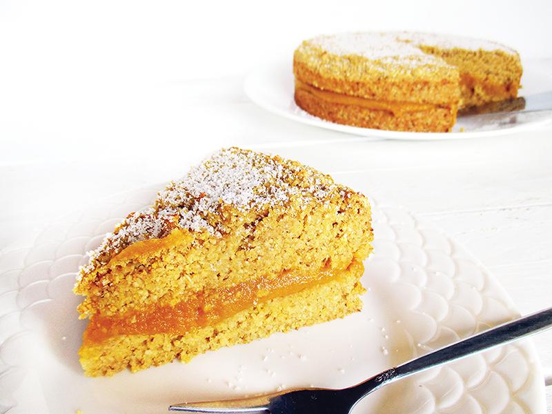 Veganer und glutenfreier Zitronen Kürbis Polenta Kuchen
