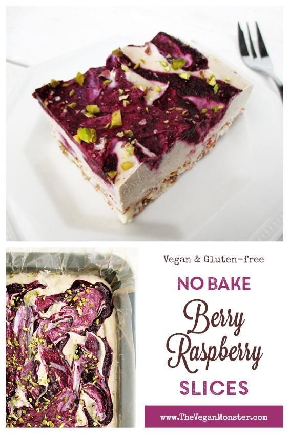 Vegan Gluten free Fruit Sweetened No Bake Raw Berry Vanilla Cake Slice Recipe P