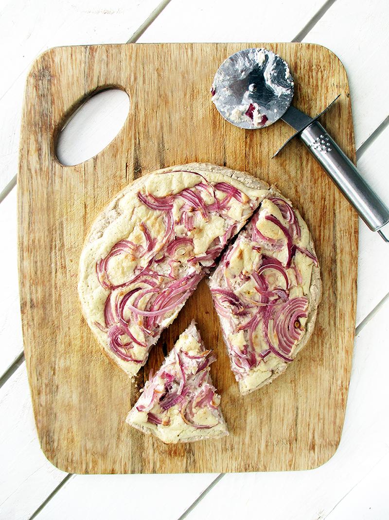 Vegan Gluten free Yeast free Tart Flambee Pizza Recipe 1