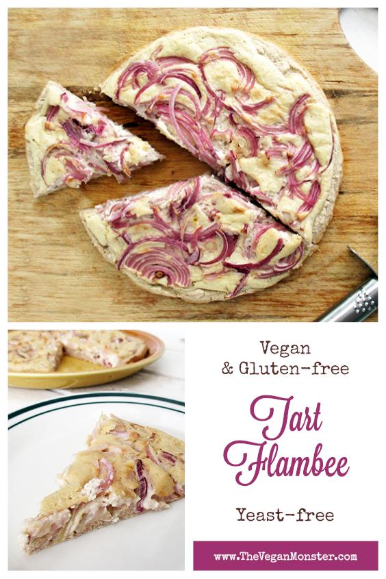 Vegan Gluten free Yeast free Tart Flambee Pizza Recipe P1