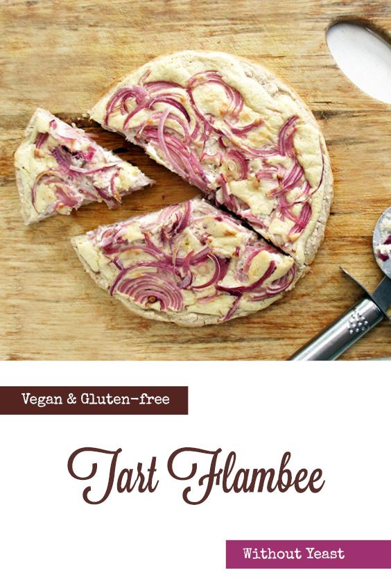 Vegan Gluten free Yeast free Tart Flambee Pizza Recipe P2