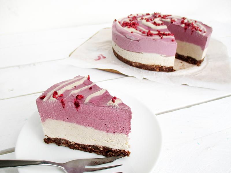 Vegan Gluten free Dairy free No Bake Raspberry Vanilla Cake Recipe 0