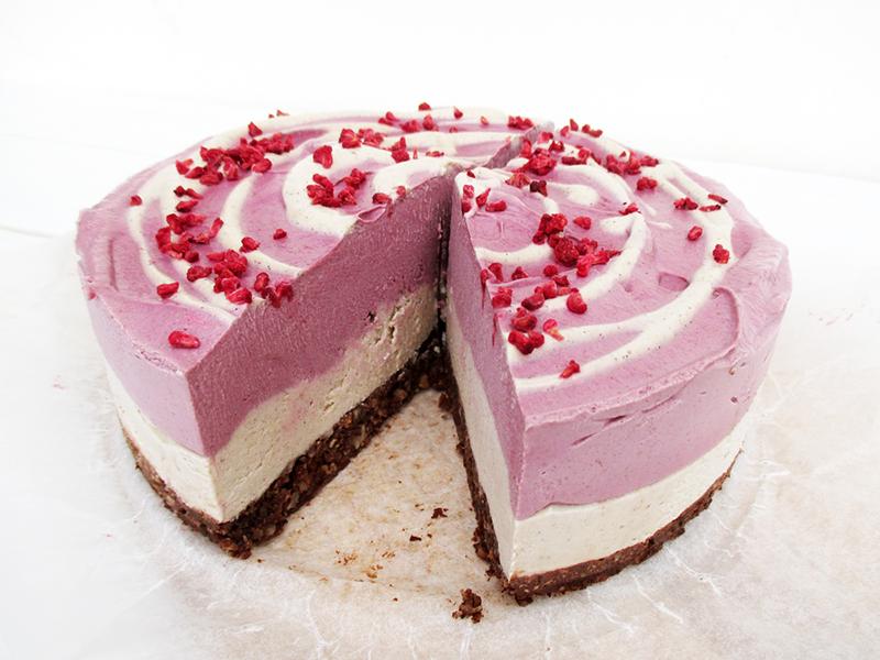 Vegan Gluten free Dairy free No Bake Raspberry Vanilla Cake Recipe 3