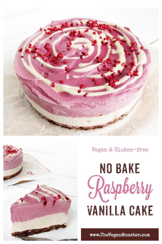 Vegan Gluten free Dairy free No Bake Raspberry Vanilla Cake Recipe P1