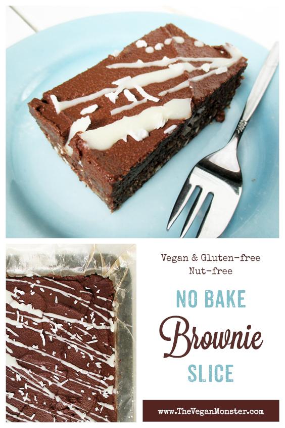 Vegan Gluten free Nut free No Bake Brownie Slice Recipe P