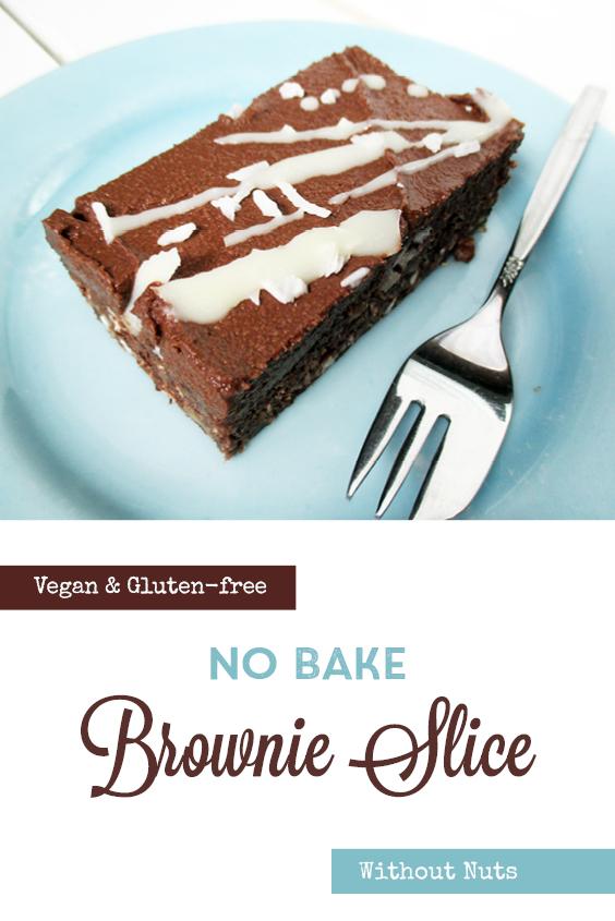 Vegan Gluten free Nut free No Bake Brownie Slice Recipe P2