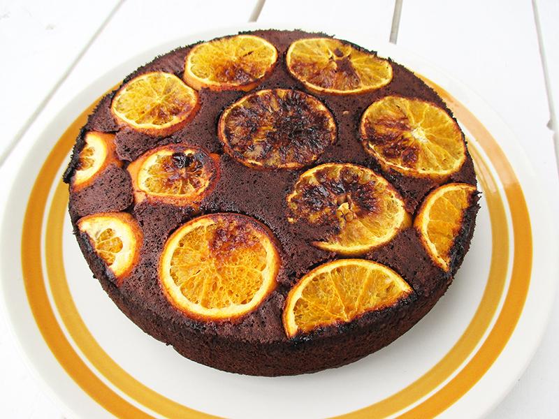 Vegan Gluten free Upside Down Orange Chocolate Cake Without Refined Sugar Recipe 2