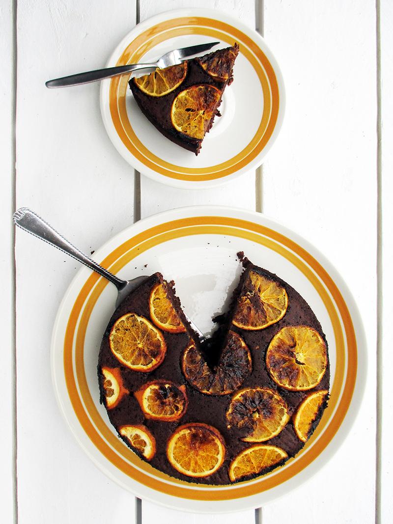 Vegan Gluten free Upside Down Orange Chocolate Cake Without Refined Sugar Recipe 3