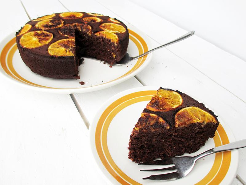 Vegan Gluten free Upside Down Orange Chocolate Cake Without Refined Sugar Recipe 4