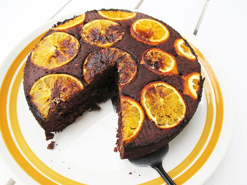Vegan Gluten free Upside Down Orange Chocolate Cake Without Refined Sugar Recipe 5