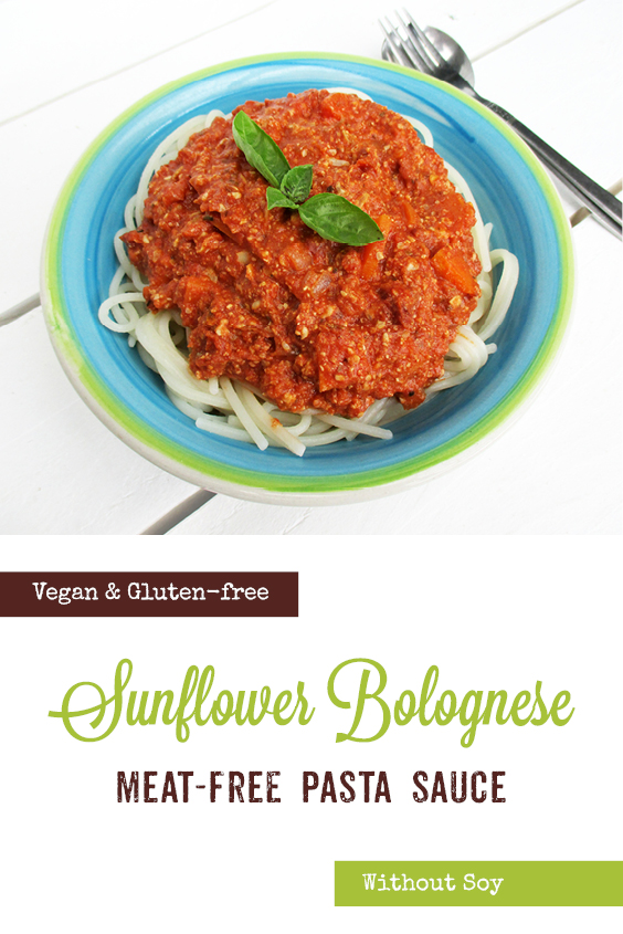 Vegan Gluten free Soy free Nut free No Meat Sunflower Seed Bolognese Sauce Recipe P3