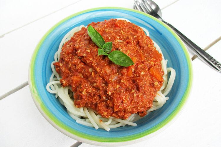 Vegane Glutenfreie Nix Fleisch Sonnenblumen Pasta Bolognese Sauce Ohne Soja Rezept 1 1