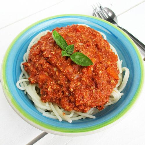 Vegane Glutenfreie Nix Fleisch Sonnenblumen Pasta Bolognese Sauce Ohne Soja Rezept 1 2