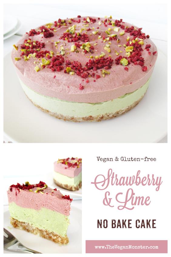 Vegan Gluten free Fruit Sweetened No Bake Strawberry Lime Cake Recipe P