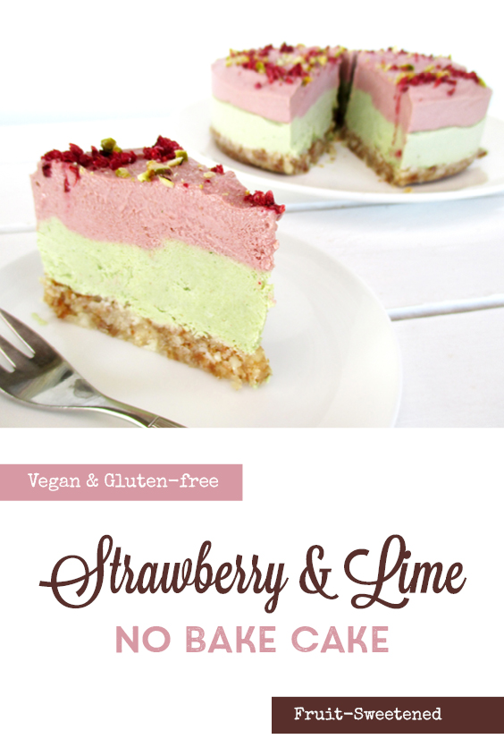 Vegan Gluten free Fruit Sweetened No Bake Strawberry Lime Cake Recipe P2
