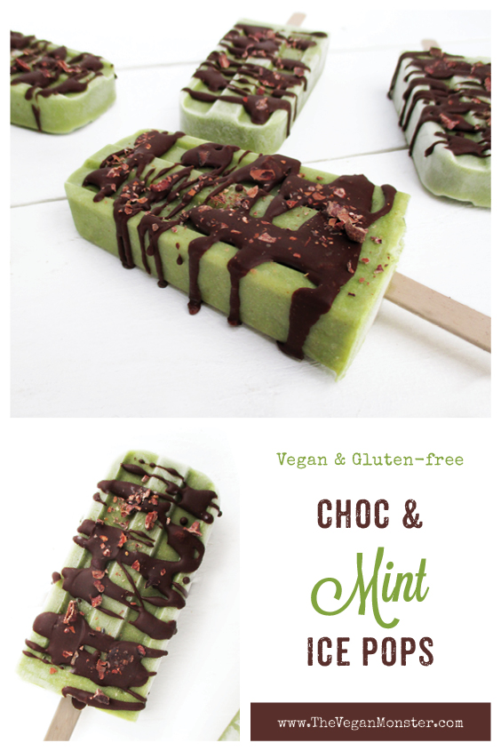 Vegan Gluten free Dairy free Mint Chocolate Ice Pops Without Refined Sugar Recipe P