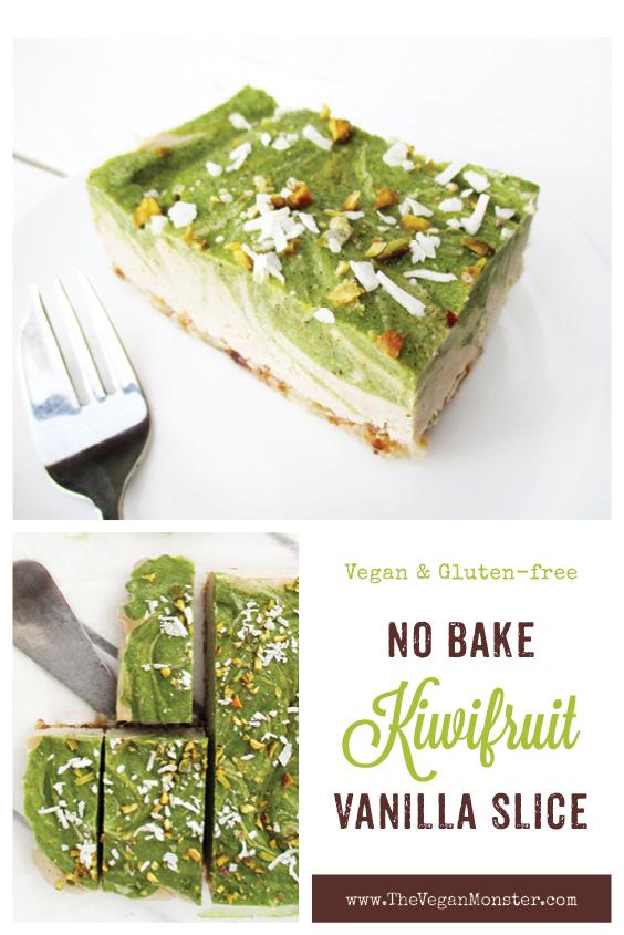 Vegan Gluten free Dairy free No Bake Kiwi Fruit Vanilla Cake Slice Recipe P