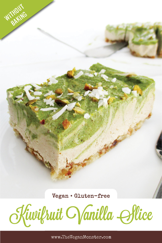Vegan Gluten free Dairy free No Bake Kiwi Fruit Vanilla Cake Slice Recipe P2