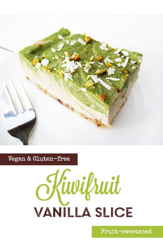 Vegan Gluten free Dairy free No Bake Kiwi Fruit Vanilla Cake Slice Recipe P3