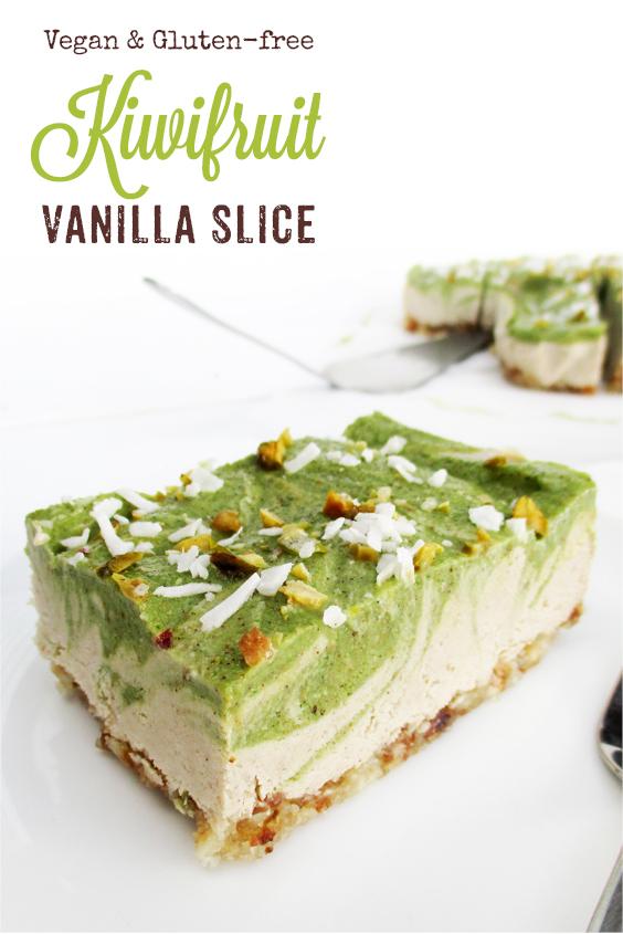 Vegan Gluten free Dairy free No Bake Kiwi Fruit Vanilla Cake Slice Recipe P4